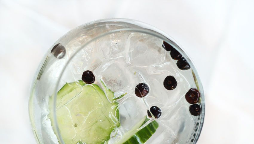 Hendricks Gin served with Indian Tonic Water, Juniper Berries and Cucumber